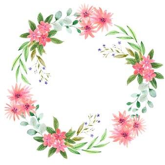 꽃 축제 부케와 부케의 개별 요소가 있는 수채화 화환