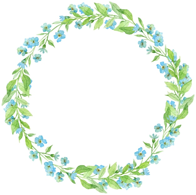 Watercolor wreath with forget-me-not flowers. spring little blue flowers. circle frame.