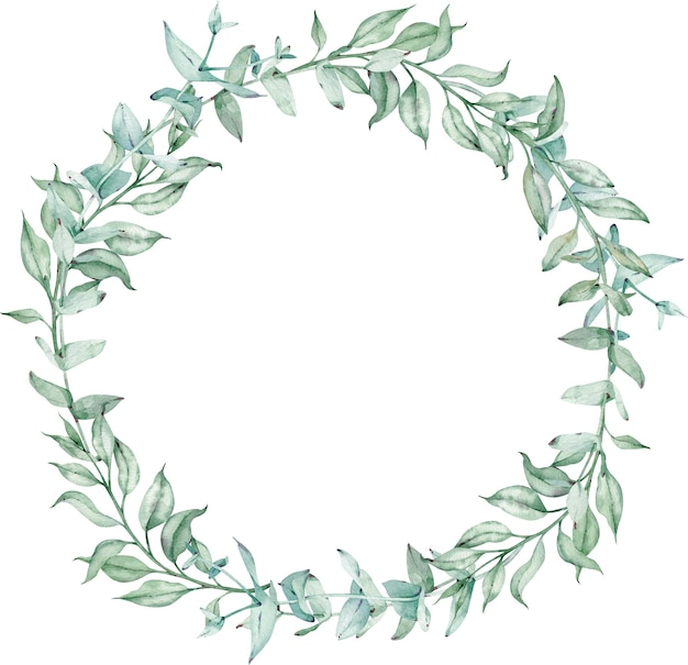 녹색 유칼립투스 잎 수채화 화 환입니다. 여름 녹지 템플릿입니다. 결혼식 꽃 초대 프레임입니다. 텍스트에 대한 템플릿입니다.