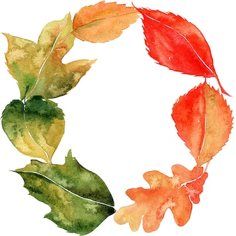 Watercolor wreath with leaves.