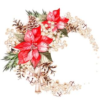 ポインセチアの花、ベリーと水彩の花輪