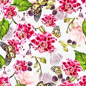 バラの花と水彩の花輪。イラスト