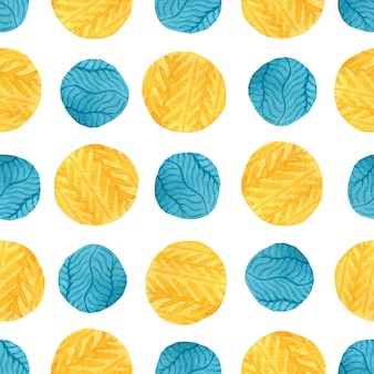 Watercolor yellow and blue circles seamless pattern.
