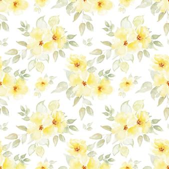 水彩の黄色い花のシームレスなパターン