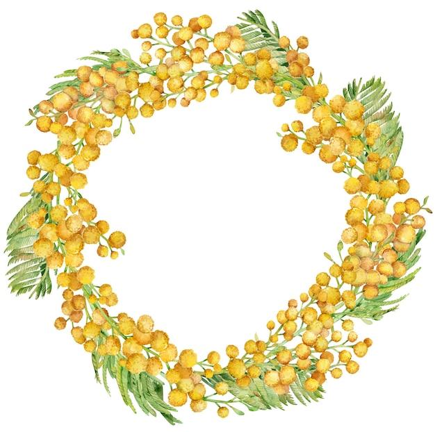 水彩黄色のミモザサークルリース。