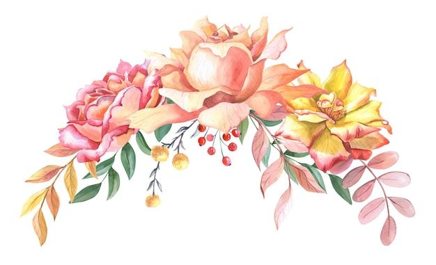 장미와 잎의 수채화 배열입니다. 노란색, 분홍색 장미, 빨간색 베리가 있는 가을 구성. 스크랩북에 대한 수채화 그림입니다. 결혼식, 생일 인사말 카드입니다.