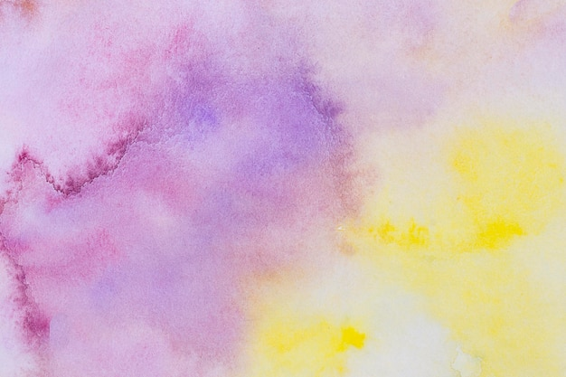 Watercolour art hand paint yellow and violet background
