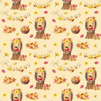 수채화가 완벽 한 패턴입니다. 베이지색 바탕에 귀여운 수채화 만화 고슴도치입니다. 어린이를 위한 숲 그림입니다. 버섯, 사과, 배, 혼합 잎 바구니. 아기를 위한 인쇄.