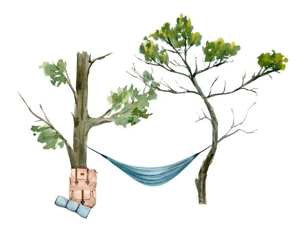Акварельный рисунок гамака между двумя деревьями и туристический пакет