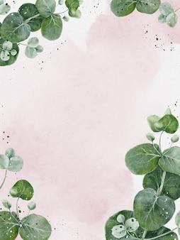 유칼립투스가 있는 수채화 꽃 카드는 녹지와 보라색 프레임에 나뭇잎. 초대, 생일, 결혼식, 어머니날 배경 복사 공간이 있는 클래식하고 우아한 템플릿 장식 디자인