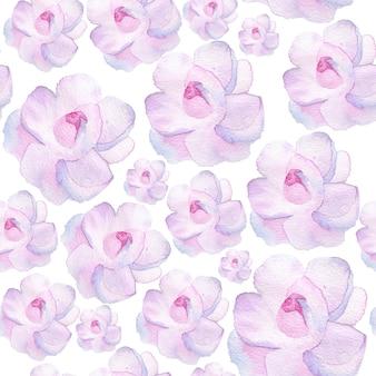 水彩花柄、繊細な花、黄色、青、ピンクの花、グリーティングカードテンプレート