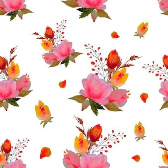 水彩花柄、繊細な花、黄色、青、ピンクの花、