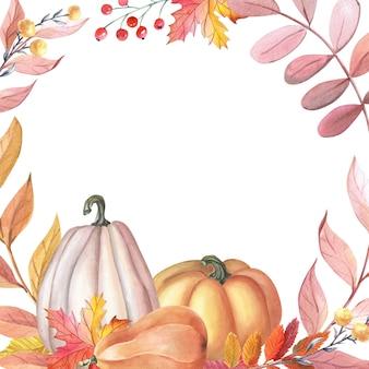 호박 수채화 프레임, 흰색 바탕에 나뭇잎. 가 카드입니다. 추수 감사절에 대 한 그림입니다. 신선한 수확입니다. 격리 된 손으로 그린 스케치