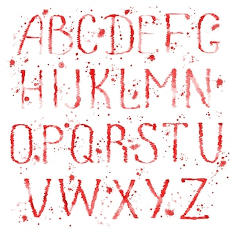 Watercolour hand drawn english alphabet letters with splashes isolated on white background.
