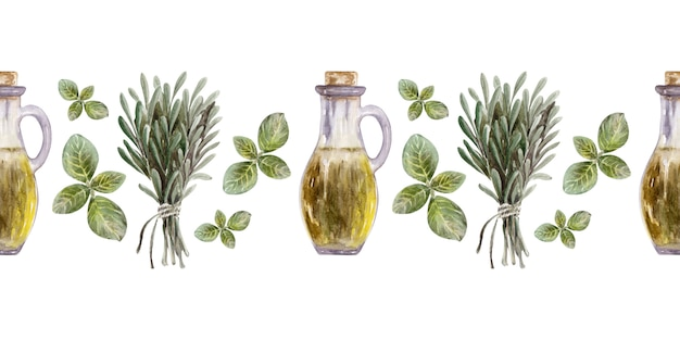 Watercolour illustration of a border with leaves, fruits and olive oil. oil and aromatic herbs