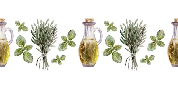 葉、果物、オリーブオイルとの国境の水彩イラスト。オイルとハーブ