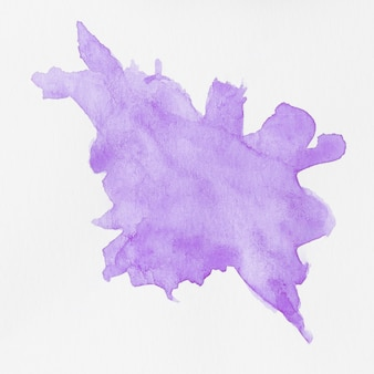 Watercolour liquid violet splashes on white background