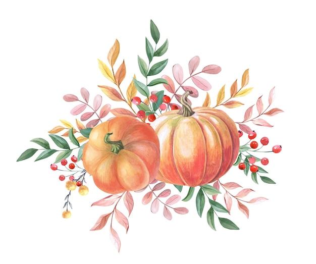 흰색 바탕에 노란색, 녹색, 빨간색 잎이 있는 수채색 주황색 호박. 수채화 가을 배열입니다. 야채 2개. 추수 감사절에 대 한 그림입니다. 신선한 수확입니다. 고립 된 손으로 그린.