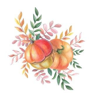 흰색 바탕에 노란색, 녹색, 빨간색 잎이 있는 수채색 주황색 호박.