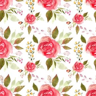 葉とバラの水彩画の花束。大きな花のテキスタイルファブリックデザインとのシームレスなパターン。