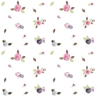 水彩画には、小さなバラの葉、ピンクと紫の花のシームレスなパターンが描かれています。