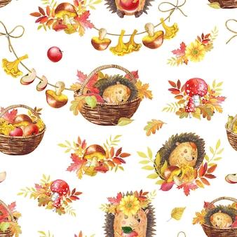 水彩のシームレスパターン。かわいい水彩漫画ハリネズミが眠っています。秋のイラスト