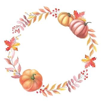 カボチャ、葉、白い背景の上の赤いベリーと水彩花輪。秋のアレンジのフレーム。感謝祭の休日のイラスト。新鮮な収穫。孤立した手描きのスケッチ。
