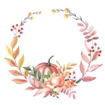 カボチャ、葉、白い背景の上の赤いベリーのバラと水彩花輪。秋のアレンジのフレーム。感謝祭の休日のイラスト。新鮮な収穫。孤立した手描きのスケッチ。