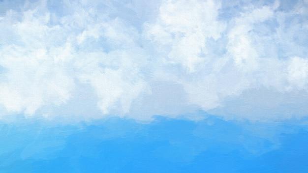 Watercolour абстрактного синего океана и пушистые белые облака в небе