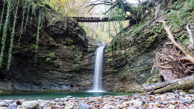 Waterfall azhek, hiking in forest of sochi, russia.