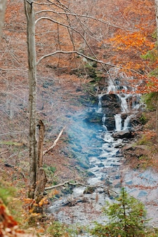 Waterfall borzhava with smoke from fire under the mountain village pylypets ski resort. vertical photo