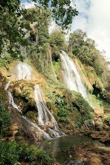 Каскад водопадов в тропическом лесу