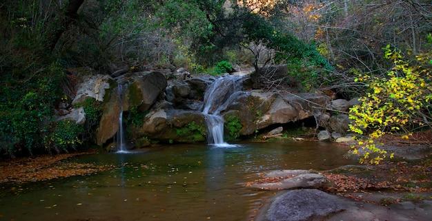 Водопад падает из лесного ручья осенью