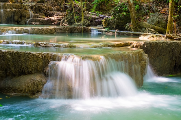 Waterfall flow down clear beautiful natural