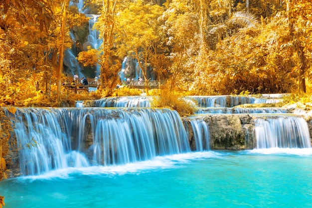 Waterfall in forest, names tat kuang si waterfall in luang prabang, laos.