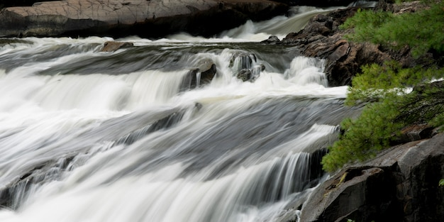Waterfall in a forest, plaisance falls, petite-nation river, quebec, canada