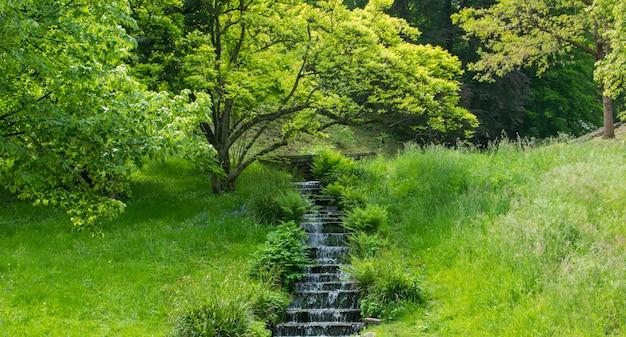 Waterfall in green summer park.