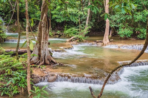 Waterfall of huai mae khamin waterfall srinakarin national park at kanchanaburi thailand.