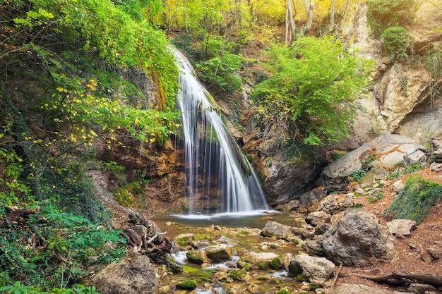 Waterfall jur-jur in cremea. beautiful autumn landscape