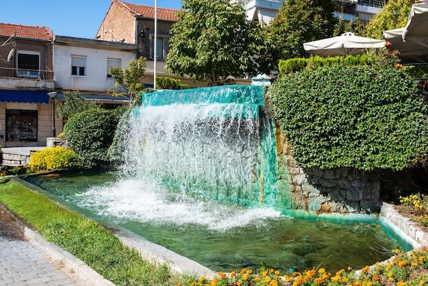 Waterfall in kerkyra corfu town on island.
