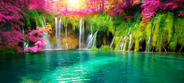 Waterfall landscape of plitvice lakes croatia.
