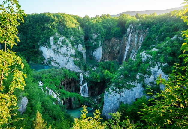 Waterfall landscape of plitvice lakes