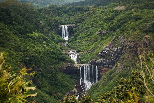 Waterfall in the mountains in mauritius.