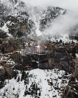 Waterfall in the mountains with snow