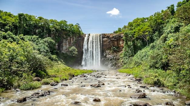 Waterfall of municipal natural park salto do rio sucuriu in brazil