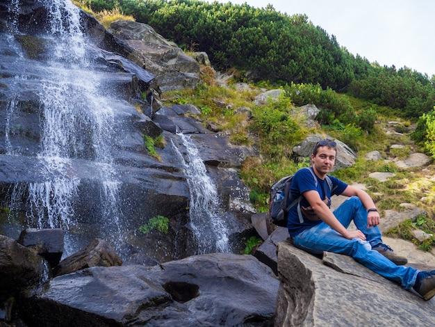 Waterfall under the peak of hoverla