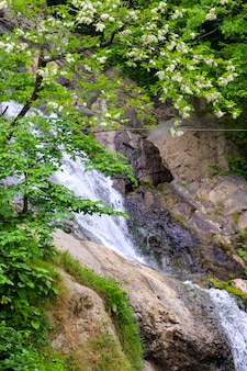 Waterfall of st. andrew near sarpi town in adjara, georgia