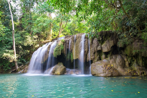 Waterfall in tripical forest of thailand.