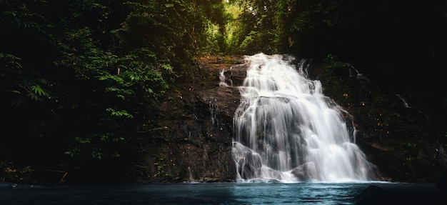 Waterfall in tropical forest around the wild jungle