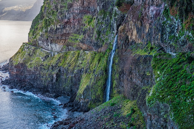Waterfall veil of the bride in madeira island, portugal.